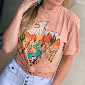 'Roam Free' Graphic Tee-Coral Mineral Wash